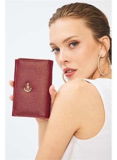 Deri Company Kadın Basic Cüzdan Monogram Desenli Şeritli Gümüş Siyah (8033G)  213001 Bordo